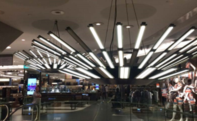 Shopping mall banner and decorative displays